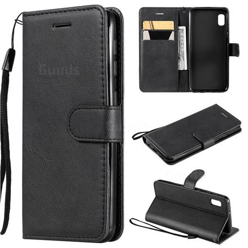 Retro Greek Classic Smooth PU Leather Wallet Phone Case for Samsung Galaxy A10e - Black