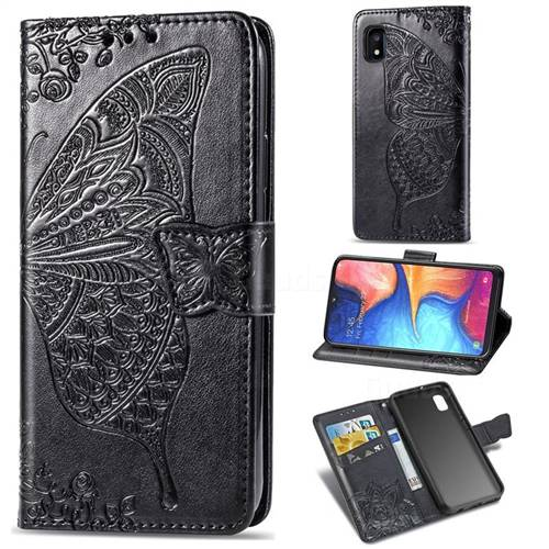 Embossing Mandala Flower Butterfly Leather Wallet Case for Samsung Galaxy A10e - Black
