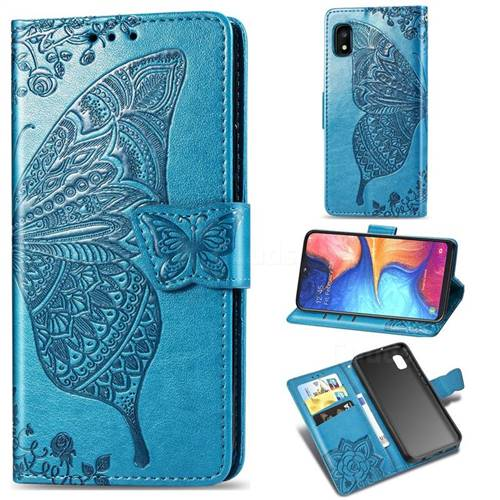Embossing Mandala Flower Butterfly Leather Wallet Case for Samsung Galaxy A10e - Blue