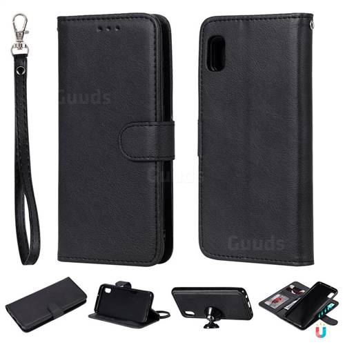 Retro Greek Detachable Magnetic PU Leather Wallet Phone Case for Samsung Galaxy A10e - Black