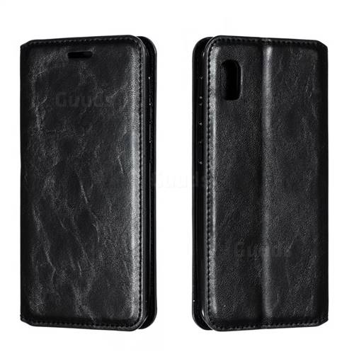 Retro Slim Magnetic Crazy Horse PU Leather Wallet Case for Samsung Galaxy A10e - Black