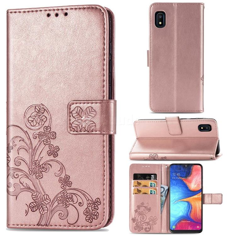 Embossing Imprint Four-Leaf Clover Leather Wallet Case for Samsung Galaxy A10e - Rose Gold