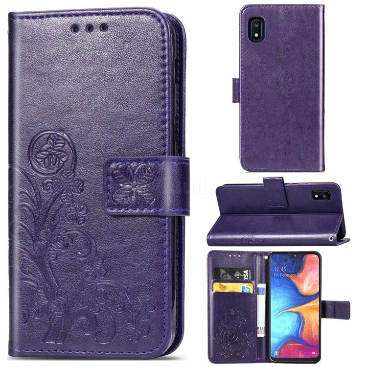 Embossing Imprint Four-Leaf Clover Leather Wallet Case for Samsung Galaxy A10e - Purple