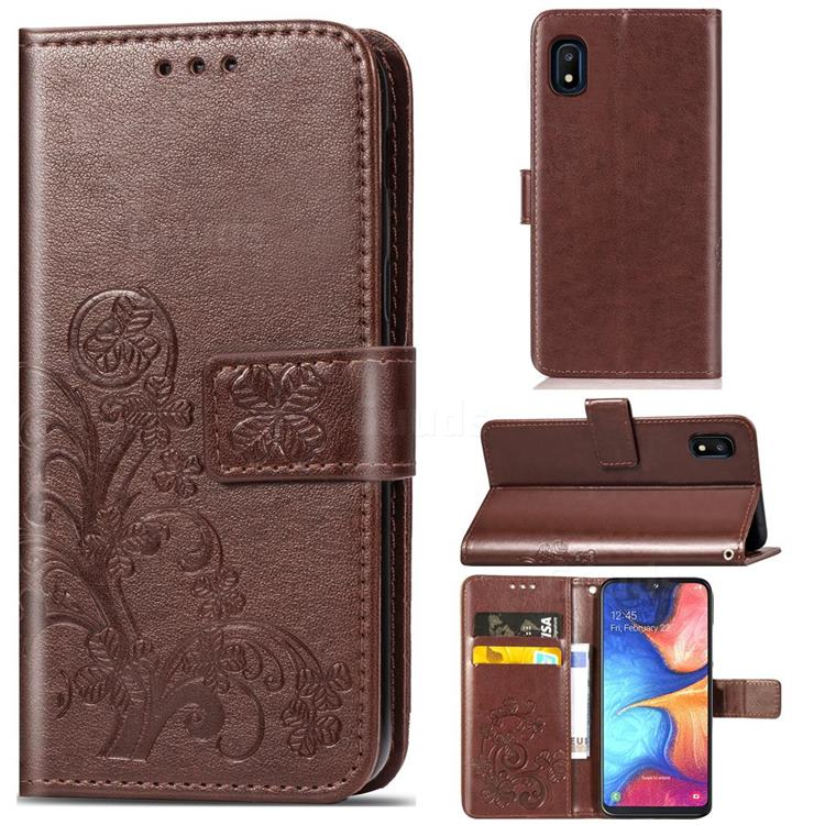 Embossing Imprint Four-Leaf Clover Leather Wallet Case for Samsung Galaxy A10e - Brown
