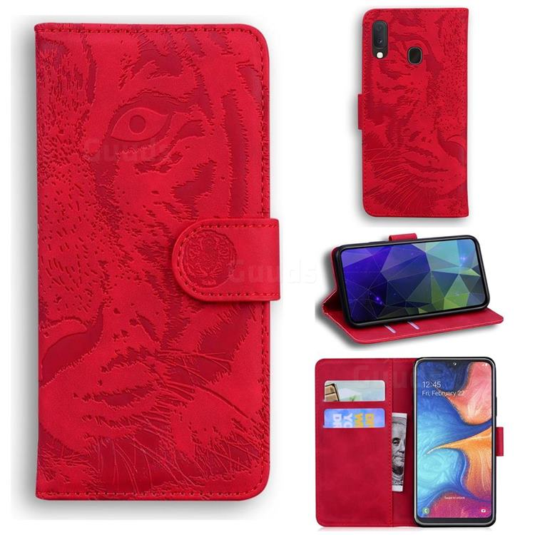 Intricate Embossing Tiger Face Leather Wallet Case for Samsung Galaxy A10e - Red