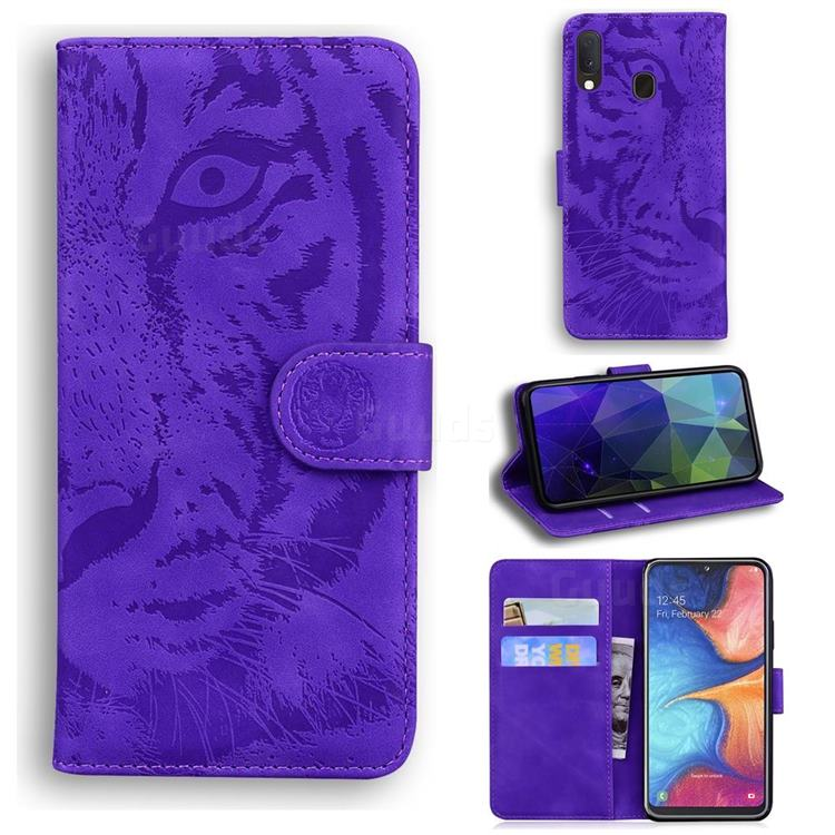 Intricate Embossing Tiger Face Leather Wallet Case for Samsung Galaxy A10e - Purple