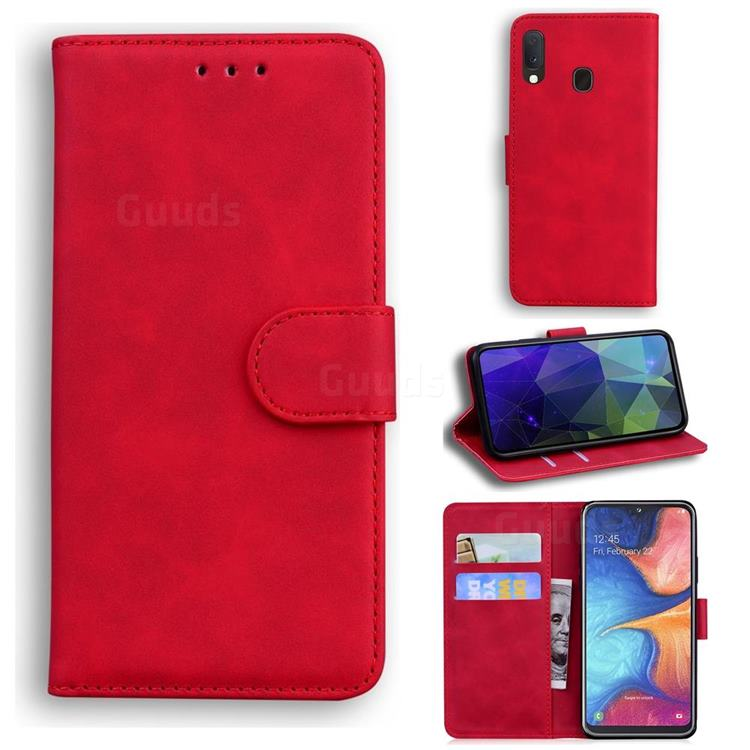 Retro Classic Skin Feel Leather Wallet Phone Case for Samsung Galaxy A10e - Red