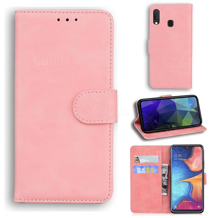 Retro Classic Skin Feel Leather Wallet Phone Case for Samsung Galaxy A10e - Pink