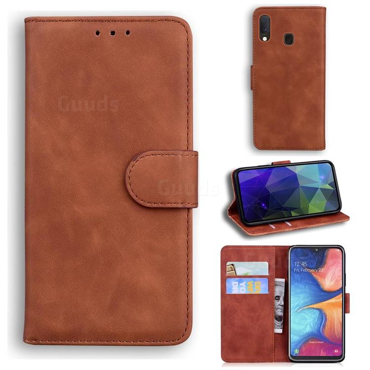 Retro Classic Skin Feel Leather Wallet Phone Case for Samsung Galaxy A10e - Brown