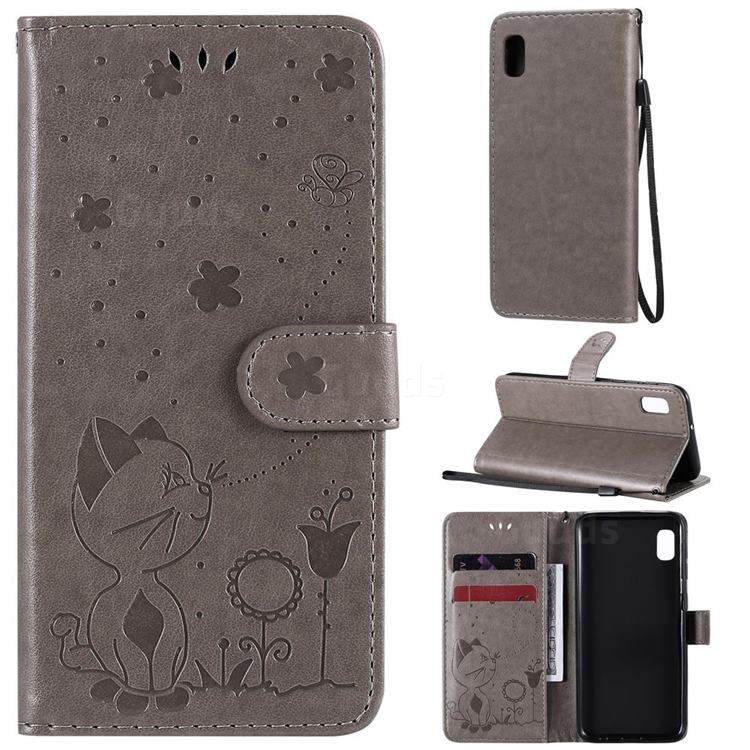 Embossing Bee and Cat Leather Wallet Case for Samsung Galaxy A10e - Gray