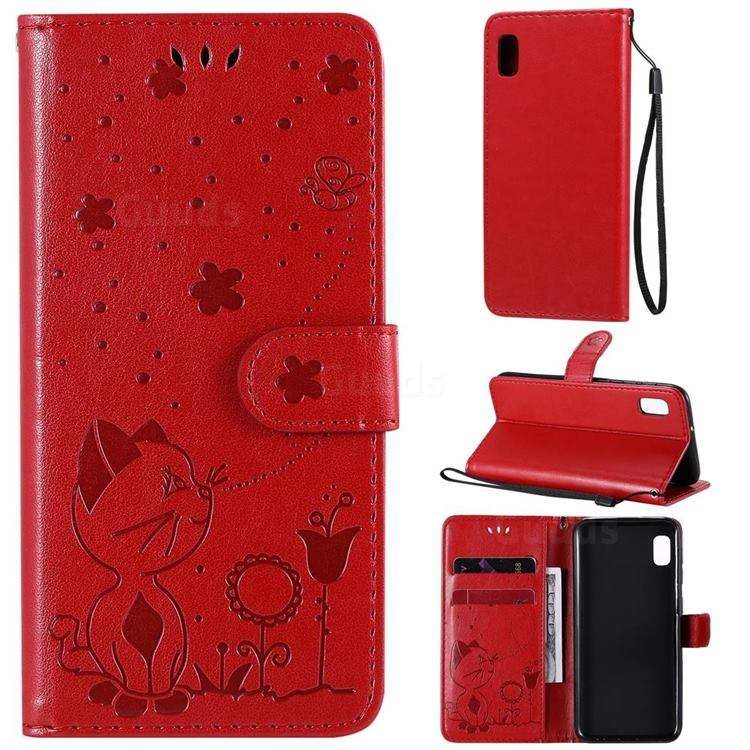 Embossing Bee and Cat Leather Wallet Case for Samsung Galaxy A10e - Red