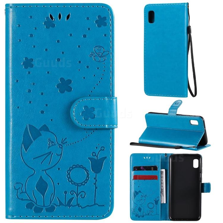 Embossing Bee and Cat Leather Wallet Case for Samsung Galaxy A10e - Blue