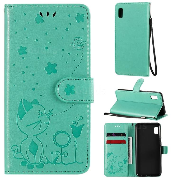 Embossing Bee and Cat Leather Wallet Case for Samsung Galaxy A10e - Green