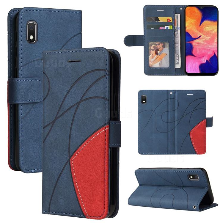 Luxury Two-color Stitching Leather Wallet Case Cover for Samsung Galaxy A10e - Blue