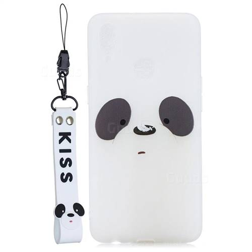 White Feather Panda Soft Kiss Candy Hand Strap Silicone Case for Samsung Galaxy A10s