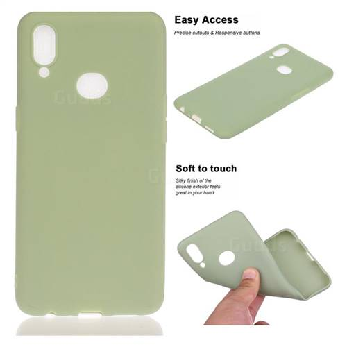 Soft Matte Silicone Phone Cover for Samsung Galaxy A10s - Bean Green