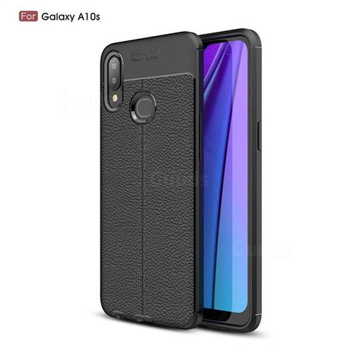 Luxury Auto Focus Litchi Texture Silicone TPU Back Cover for Samsung Galaxy A10s - Black