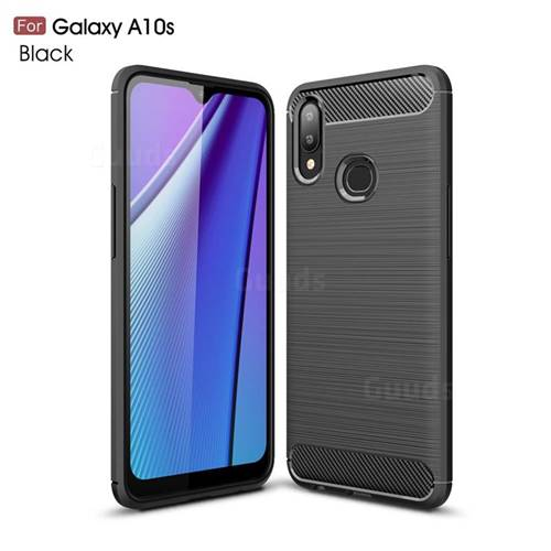 Luxury Carbon Fiber Brushed Wire Drawing Silicone TPU Back Cover for Samsung Galaxy A10s - Black