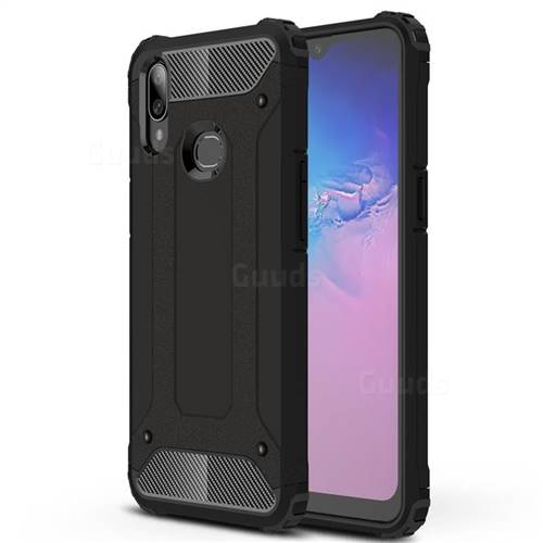 King Kong Armor Premium Shockproof Dual Layer Rugged Hard Cover for Samsung Galaxy A10s - Black Gold