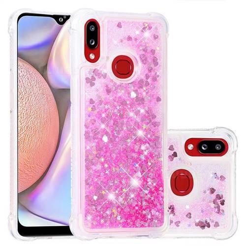 Dynamic Liquid Glitter Sand Quicksand TPU Case for Samsung Galaxy A10s - Pink Love Heart
