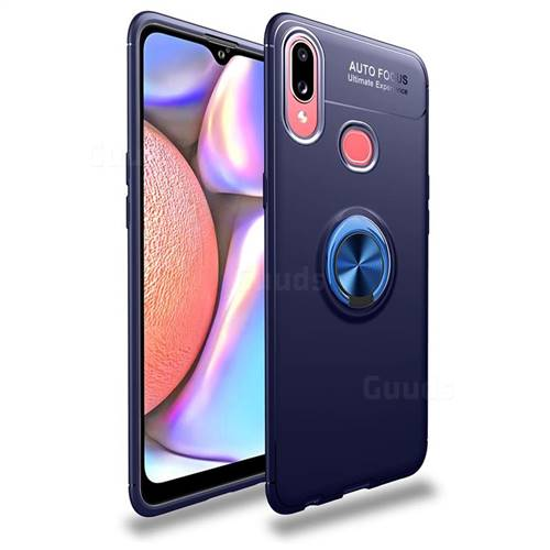 Auto Focus Invisible Ring Holder Soft Phone Case for Samsung Galaxy A10s - Blue