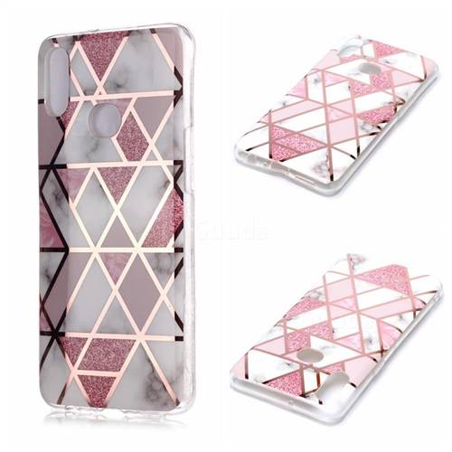 Pink Rhombus Galvanized Rose Gold Marble Phone Back Cover for Samsung Galaxy A10s
