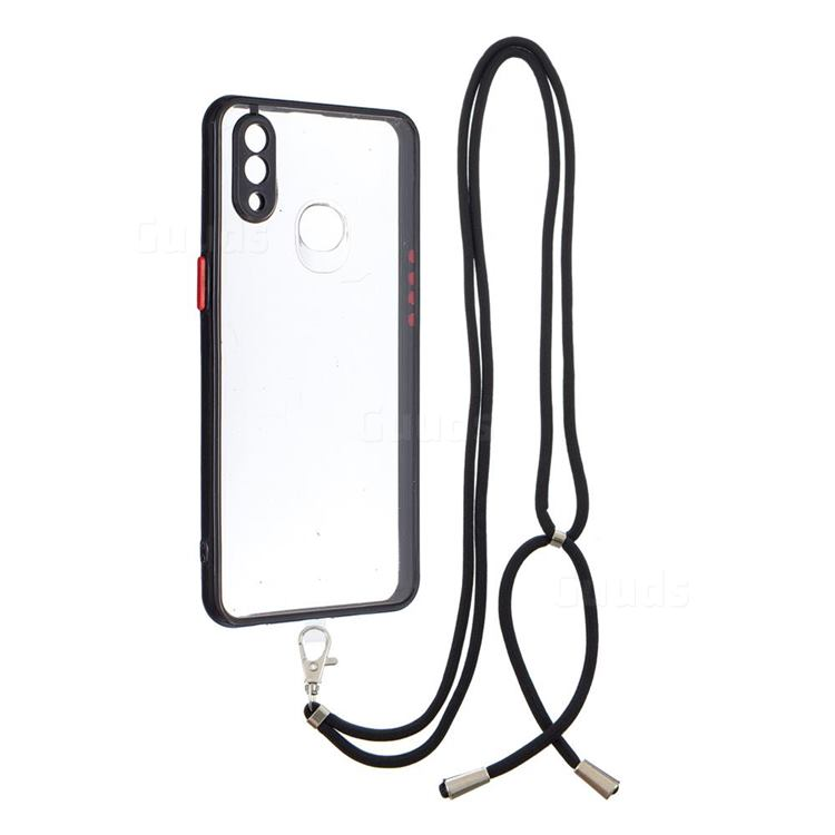 Necklace Cross-body Lanyard Strap Cord Phone Case Cover for Samsung Galaxy A10s - Black