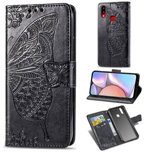 Embossing Mandala Flower Butterfly Leather Wallet Case for Samsung Galaxy A10s - Black