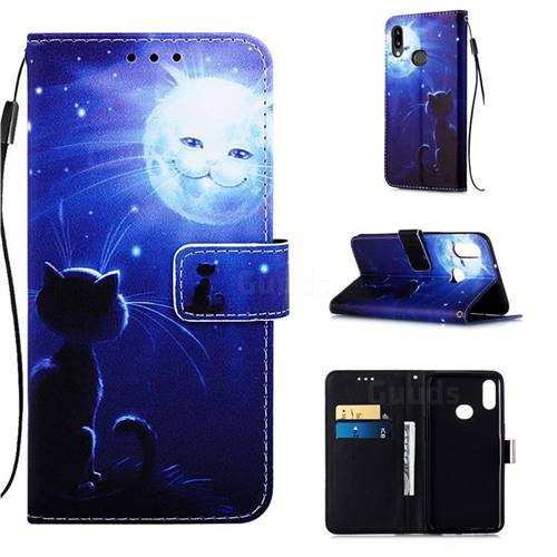 Cat and Moon Matte Leather Wallet Phone Case for Samsung Galaxy A10s