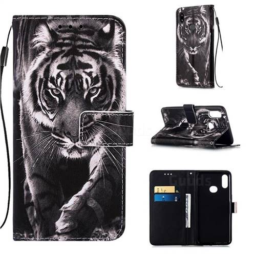 Black and White Tiger Matte Leather Wallet Phone Case for Samsung Galaxy A10s