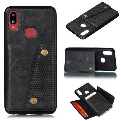 Retro Multifunction Card Slots Stand Leather Coated Phone Back Cover for Samsung Galaxy A10s - Black