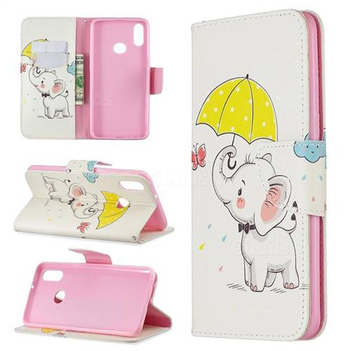 Umbrella Elephant Leather Wallet Case for Samsung Galaxy A10s
