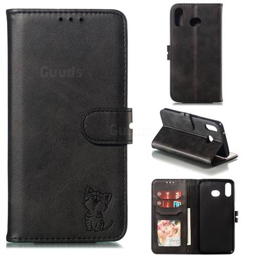 Embossing Happy Cat Leather Wallet Case for Samsung Galaxy A10s - Black