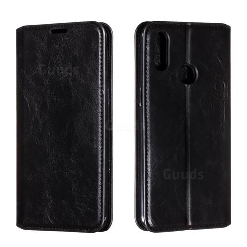 Retro Slim Magnetic Crazy Horse PU Leather Wallet Case for Samsung Galaxy A10s - Black