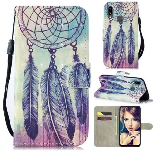 Feather Wind Chimes 3D Painted Leather Wallet Phone Case for Samsung Galaxy A10s