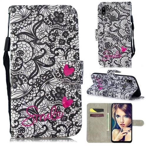 Lace Flower 3D Painted Leather Wallet Phone Case for Samsung Galaxy A10s