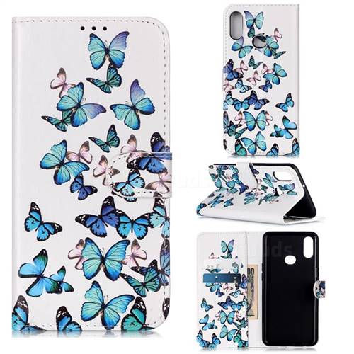 Blue Vivid Butterflies PU Leather Wallet Case for Samsung Galaxy A10s