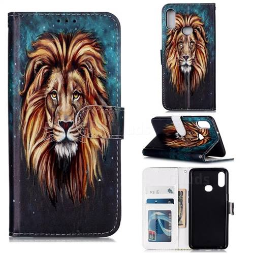 Ice Lion 3D Relief Oil PU Leather Wallet Case for Samsung Galaxy A10s