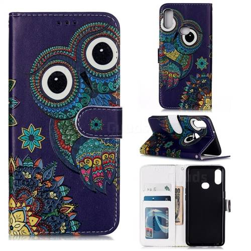 Folk Owl 3D Relief Oil PU Leather Wallet Case for Samsung Galaxy A10s