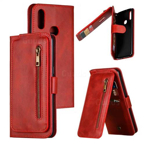 Multifunction 9 Cards Leather Zipper Wallet Phone Case for Samsung Galaxy A10s - Red