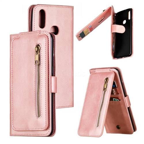 Multifunction 9 Cards Leather Zipper Wallet Phone Case for Samsung Galaxy A10s - Rose Gold