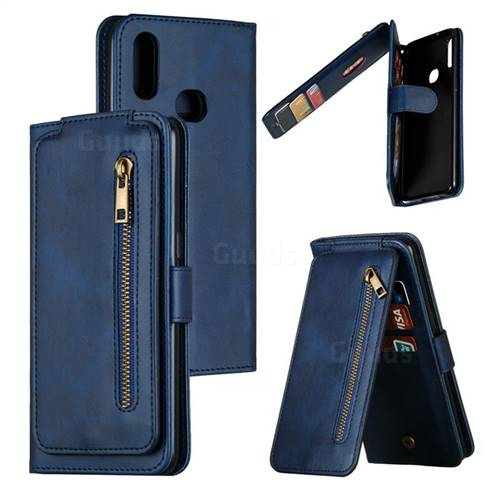 Multifunction 9 Cards Leather Zipper Wallet Phone Case for Samsung Galaxy A10s - Blue