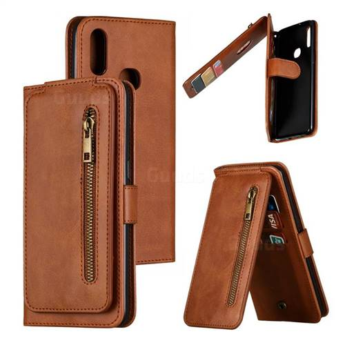 Multifunction 9 Cards Leather Zipper Wallet Phone Case for Samsung Galaxy A10s - Brown