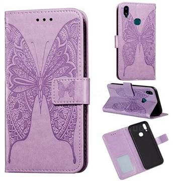 Intricate Embossing Vivid Butterfly Leather Wallet Case for Samsung Galaxy A10s - Purple