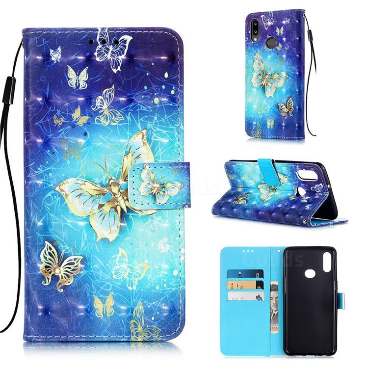 Gold Butterfly 3D Painted Leather Wallet Case for Samsung Galaxy A10s