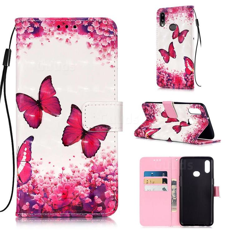 Rose Butterfly 3D Painted Leather Wallet Case for Samsung Galaxy A10s