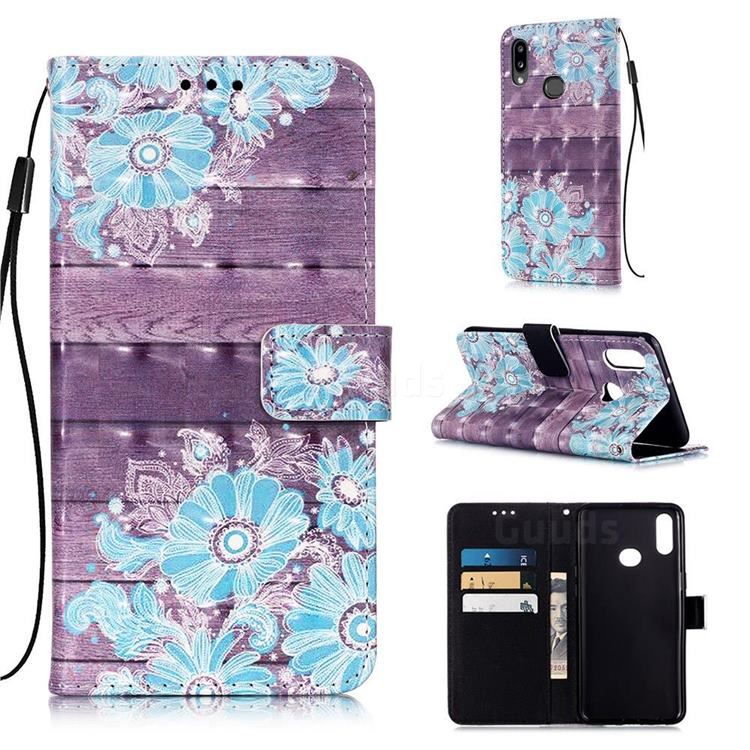 Blue Flower 3D Painted Leather Wallet Case for Samsung Galaxy A10s