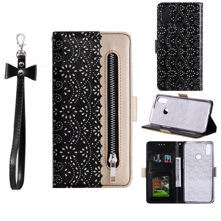 Luxury Lace Zipper Stitching Leather Phone Wallet Case for Samsung Galaxy A10s - Black