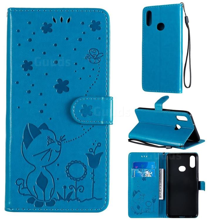 Embossing Bee and Cat Leather Wallet Case for Samsung Galaxy A10s - Blue