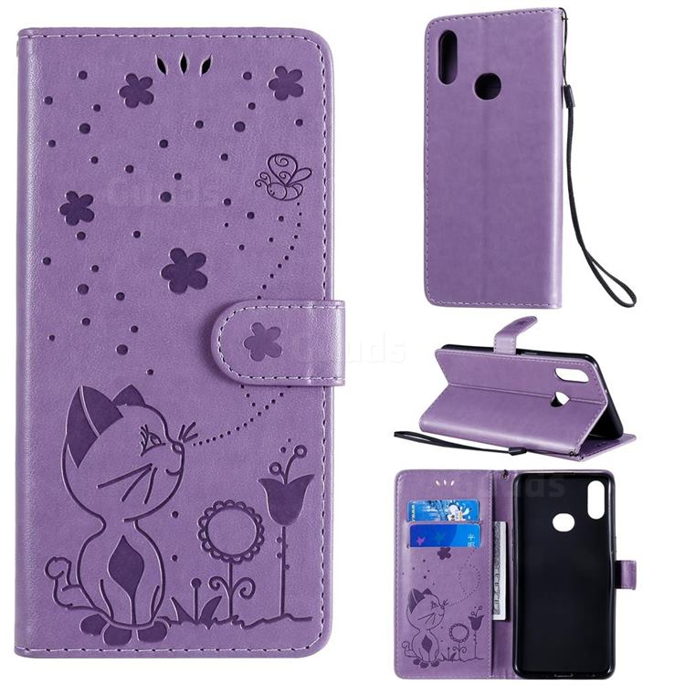 Embossing Bee and Cat Leather Wallet Case for Samsung Galaxy A10s - Purple